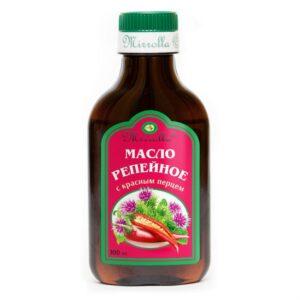 Масло для волос репейное с красным перцем озонированное Mirrolla