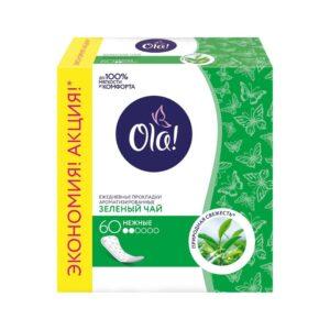 Прокладки гигиенические ежедневные ароматизированные «Зелёный чай» Daily Deo Ola! / 60 шт