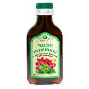 Масло для волос репейное с касторовым маслом и витаминами Mirrolla