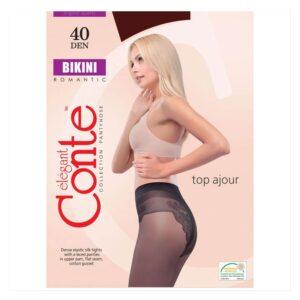 Колготки женские с ажурными трусиками Bikini 40 Conte Elegant