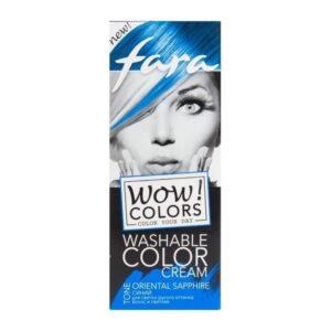 Крем для волос оттеночный смываемый тон «Синий» Wow Colors Fara