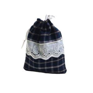 Мешочек для подарков текстильный рисунок «Клетка» mini