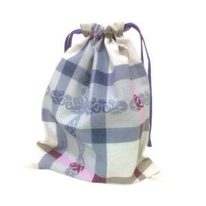Мешочек для подарков текстильный рисунок «Клетка голубая»