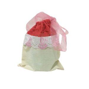 Мешочек для подарков текстильный рисунок «Кружево красное» mini