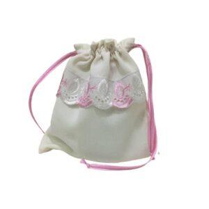 Мешочек для подарков текстильный рисунок «Кружево розовое»