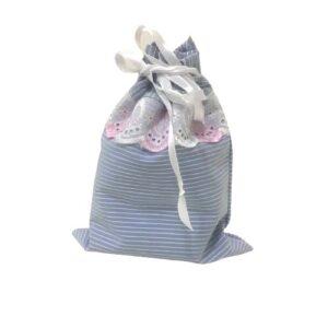 Мешочек для подарков текстильный рисунок «Полоска голубая»