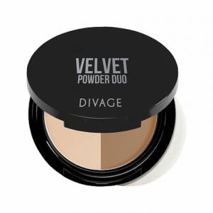 Пудра для лица компактная двухцветная Velvet тон №02 Divage