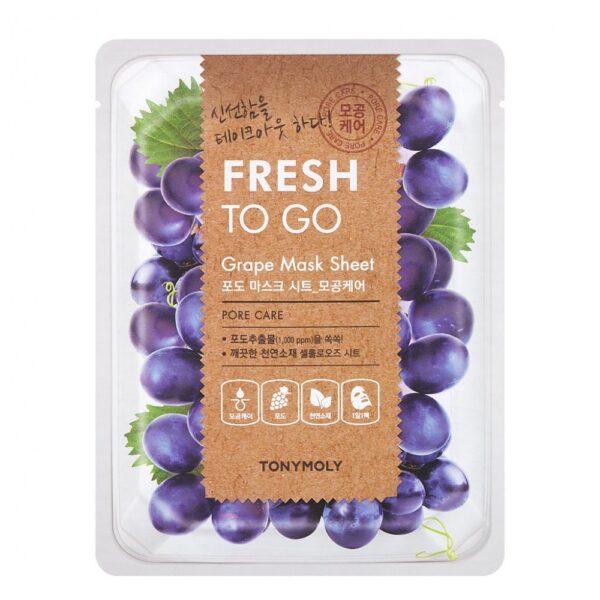 Маска для лица тканевая сужающая поры с экстрактом винограда Grape Fresh To Go Tony Moly